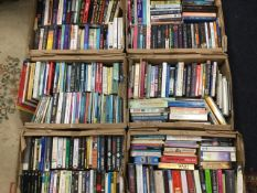 Six boxes of paperbacks - fiction, novels, crime, classics, some contemporary, biographies,