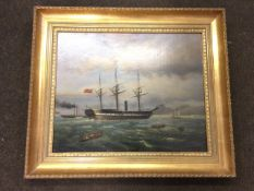 N Desjardins, oil on canvas, arrival of The Queen of the South, the famous screw streamer - possibly