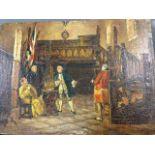 Oil on canvas, laid down on board, eighteenth century interior scene with four gentlemen in