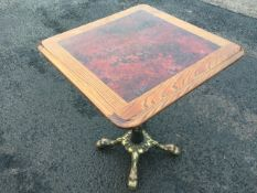 A square Victorian style pub table, the elm moulded top inset with faux rouge marble panel,