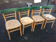 A set of four beech kitchen chairs with rounded backs & seats on square tapering legs. (4)