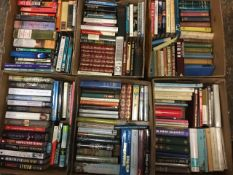 Six boxes of hardback books - novels, biographies, some contemporary, fiction, travel, politics,