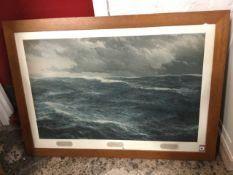 Schnars Alquist, lithographic print of stormy seas, mounted & oak framed. (33.75in x 21.5in)