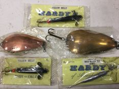 Two Hardy Brothers blair spoons - unused; two packaged Hardy devon type yellow belly minnows; and