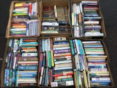 Six boxes of paperbacks - novels, social work, religion, biographies, classics, thrillers, some