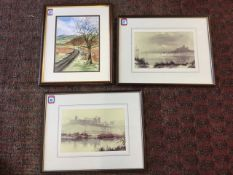 A pair of Ivan Lindsay framed photographic prints, Bamburgh & Alnwick Castles, signed in margins &