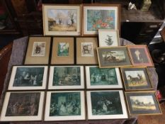 Miscellaneous prints including a set of six nineteenth century interior scenes, a poppy print, a