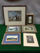 A 1914 framed oil on board with boats on water, signed with monogram; a set of three framed