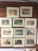 A set of eleven 60s Russell Flint prints, the European views with alluring Spanish young ladies,