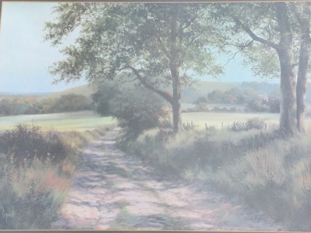 Dipnall, oileographic coloured print, landscape with track beneath trees, signed in print, mounted &