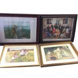 Arthur Elsley, a gilt framed print titled Golden Hours; another sentimental print of children