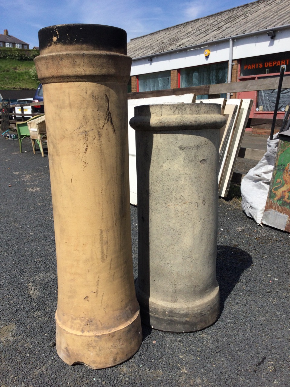 A tubular stoneware chimney pot with ring moulded rim - 30.75in; and another taller - 38.25in. (2) - Image 3 of 3