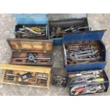 Three metal toolboxes full of tools, tap & die sets, spanners, pliers, nuts & bolts, wrenches,
