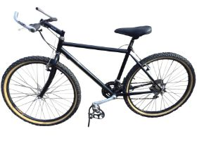 A Saracen mountain bike with gel seat, bullhorn handlebars, Shimano brakes & gears, Ritchey Megabite