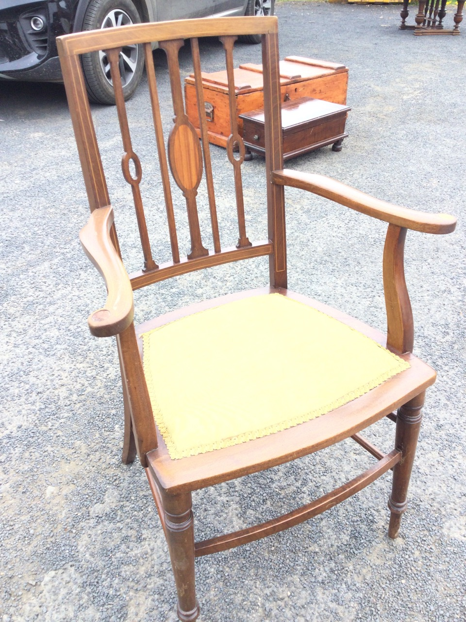An Edwardian mahogany armchair inlaid with boxwood stringing, the back with slender spindles - Image 3 of 3