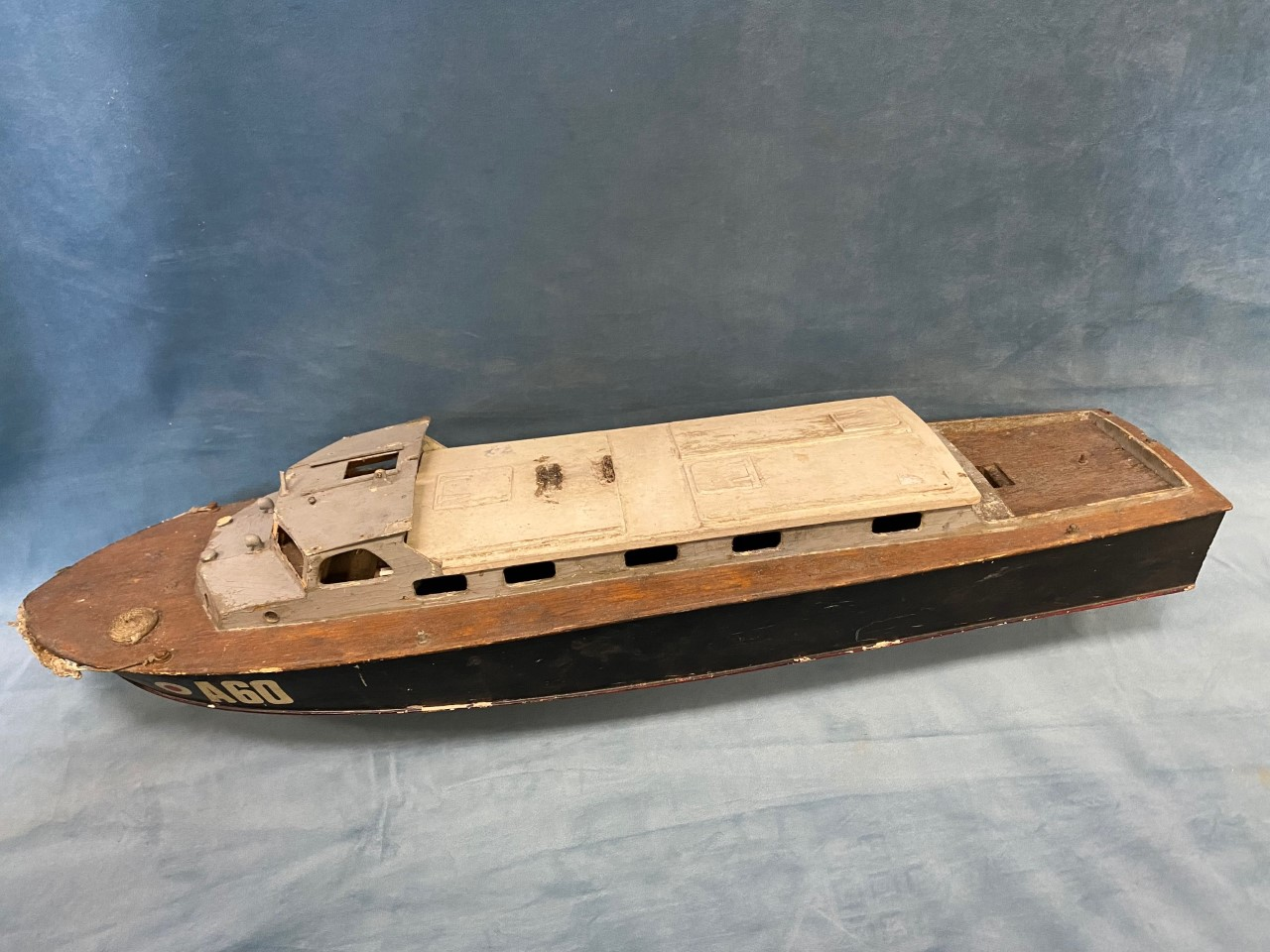 A C20th handbuilt naval type cruiser A60 with hardwood deck and painted cabin, the vessel built - Image 3 of 3