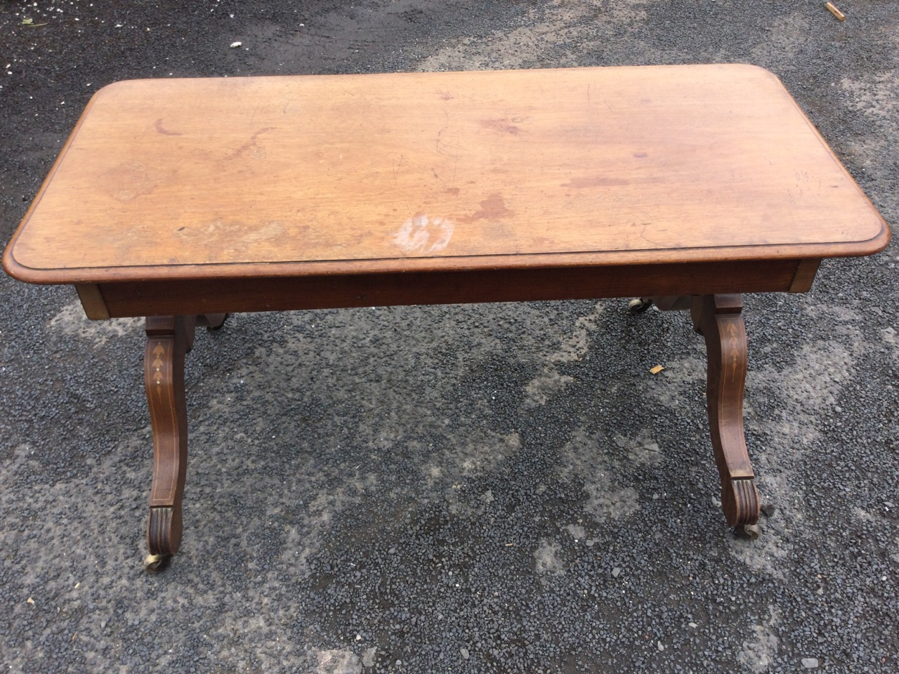 A mahogany coffee table, formed from old components with single-piece rectangular moulded top on - Image 2 of 3