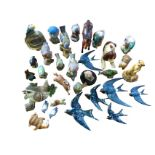 A collection of porcelain birds, horses, flying swallows, and other animals, etc., including Sylvac,
