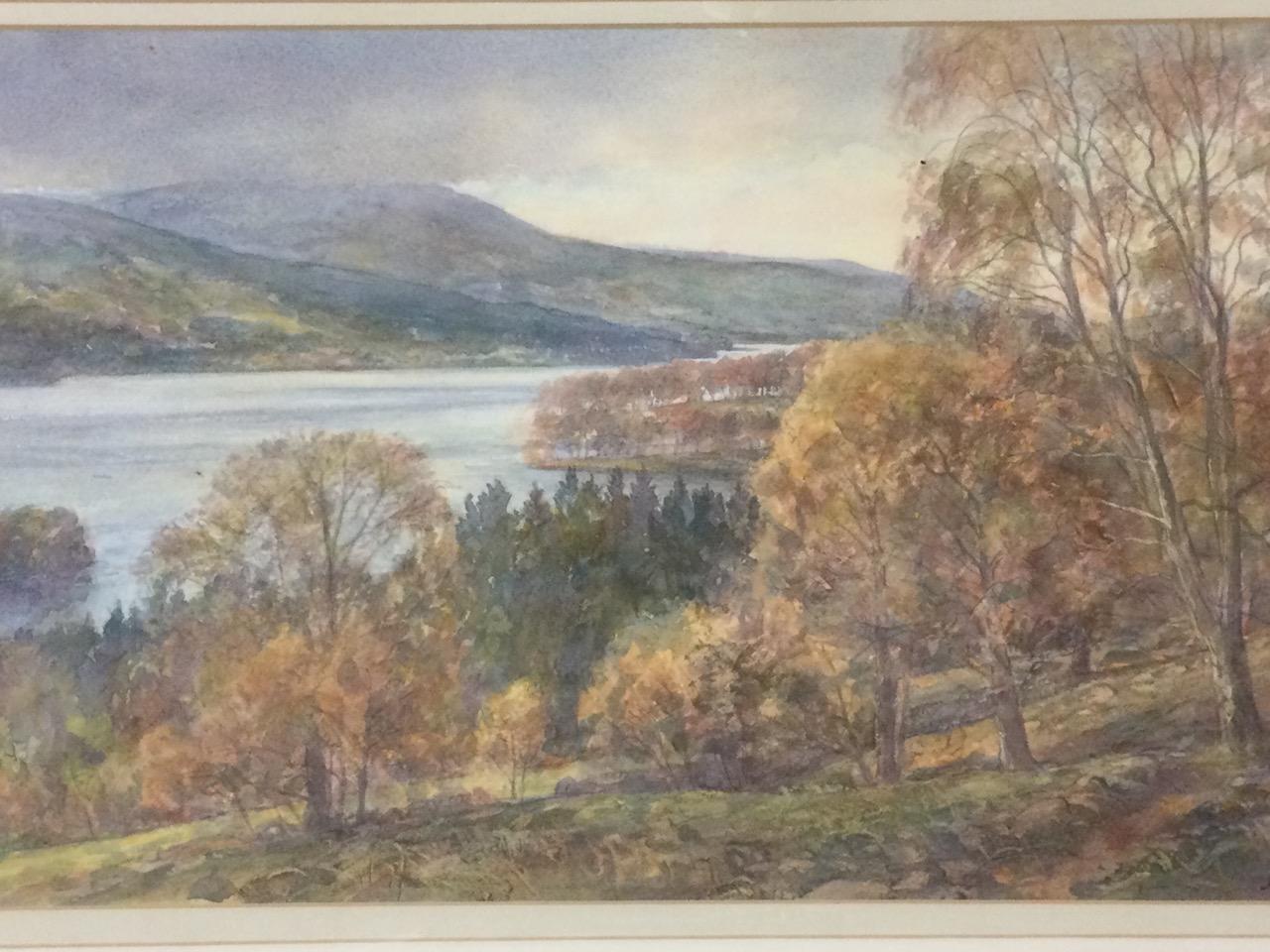 John Fisher, watercolour, Scottish landscape, inscribed to label verso Loch Tummel & Schiehallion, - Image 2 of 3