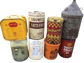 Eight miscellaneous cans & containers - some with fluids. (8)