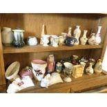 Miscellaneous vases including Wedgwood, Royal Albert, Buchan stoneware, Maling, Hornsea, wall-pocket