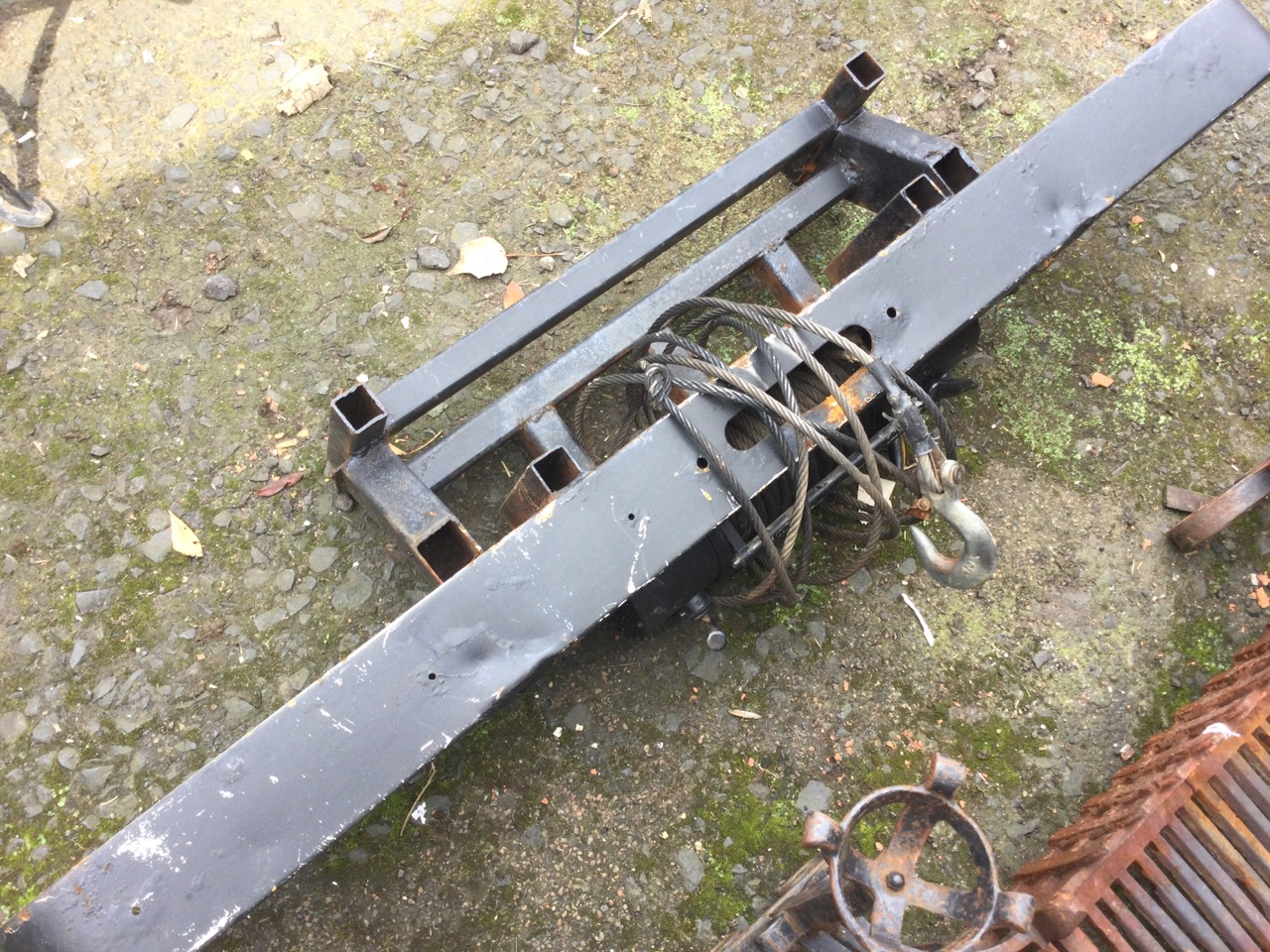 A winch from the back of a land rover, with steel cable, electric motor, fender, etc. (64in) - Image 3 of 3