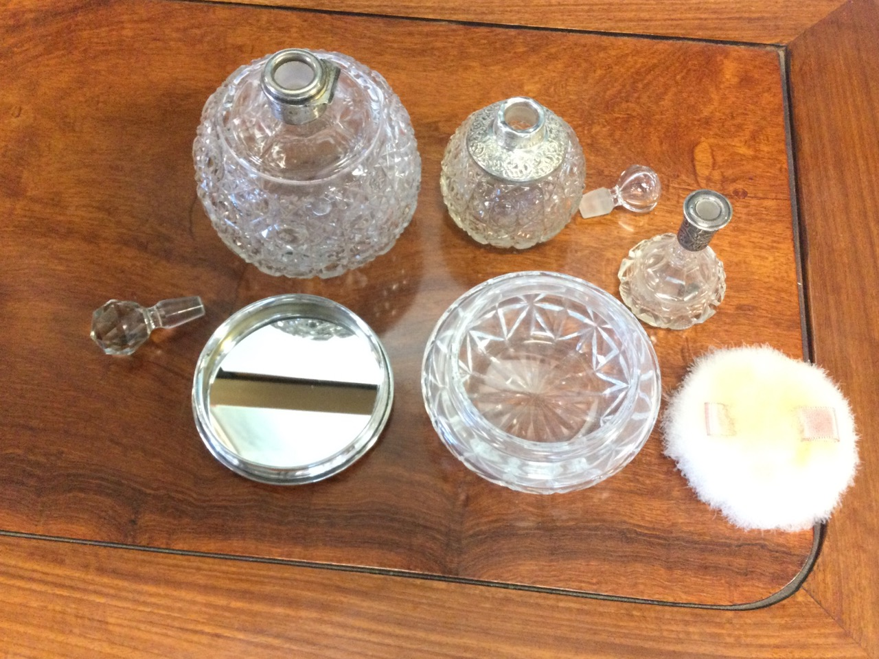Three cut glass scent bottles with hallmarked silver mounts - one with missing stopper; and a cut - Image 2 of 3