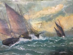 Oil on canvas, marine scene with two sailing boats in choppy seas, unsigned, in gilt & gesso