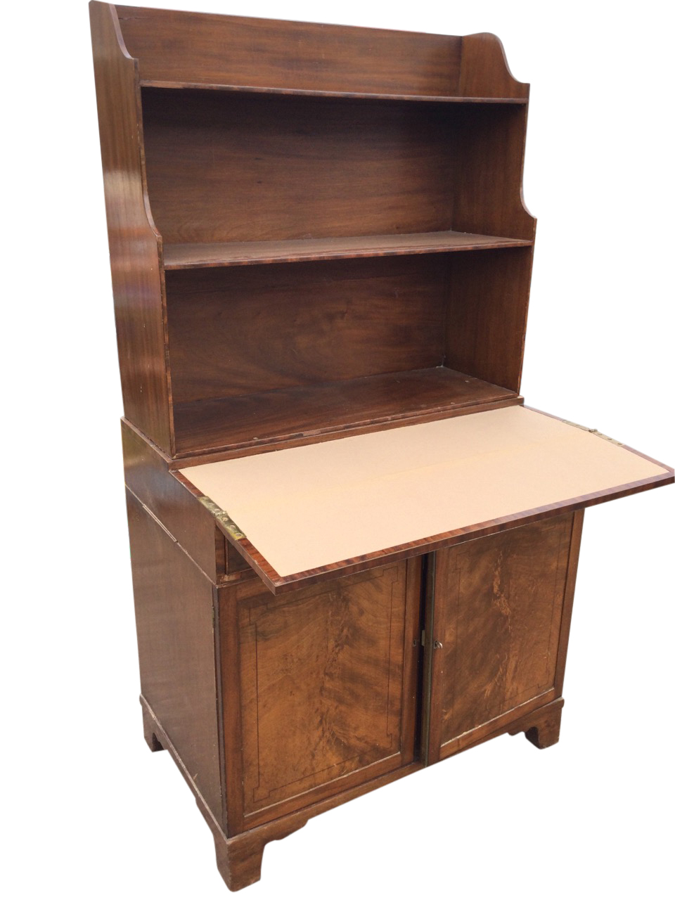 A mahogany secretaire bookcase with open shelves above a turn-over crossbanded desk with baize - Image 2 of 3
