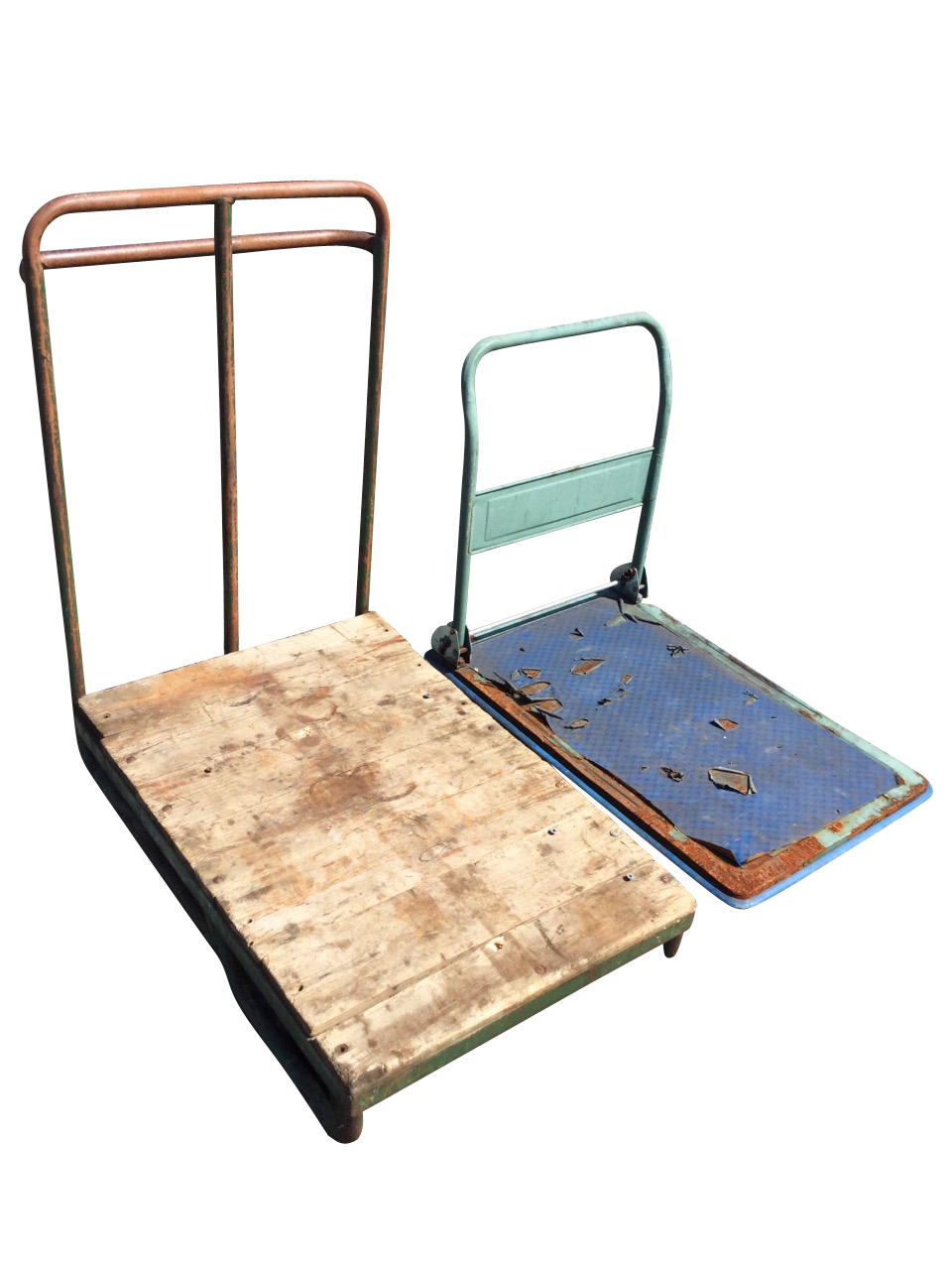 A four-wheel flatbed trolley with plank top on tubular steel frame, having pair of steering bogey