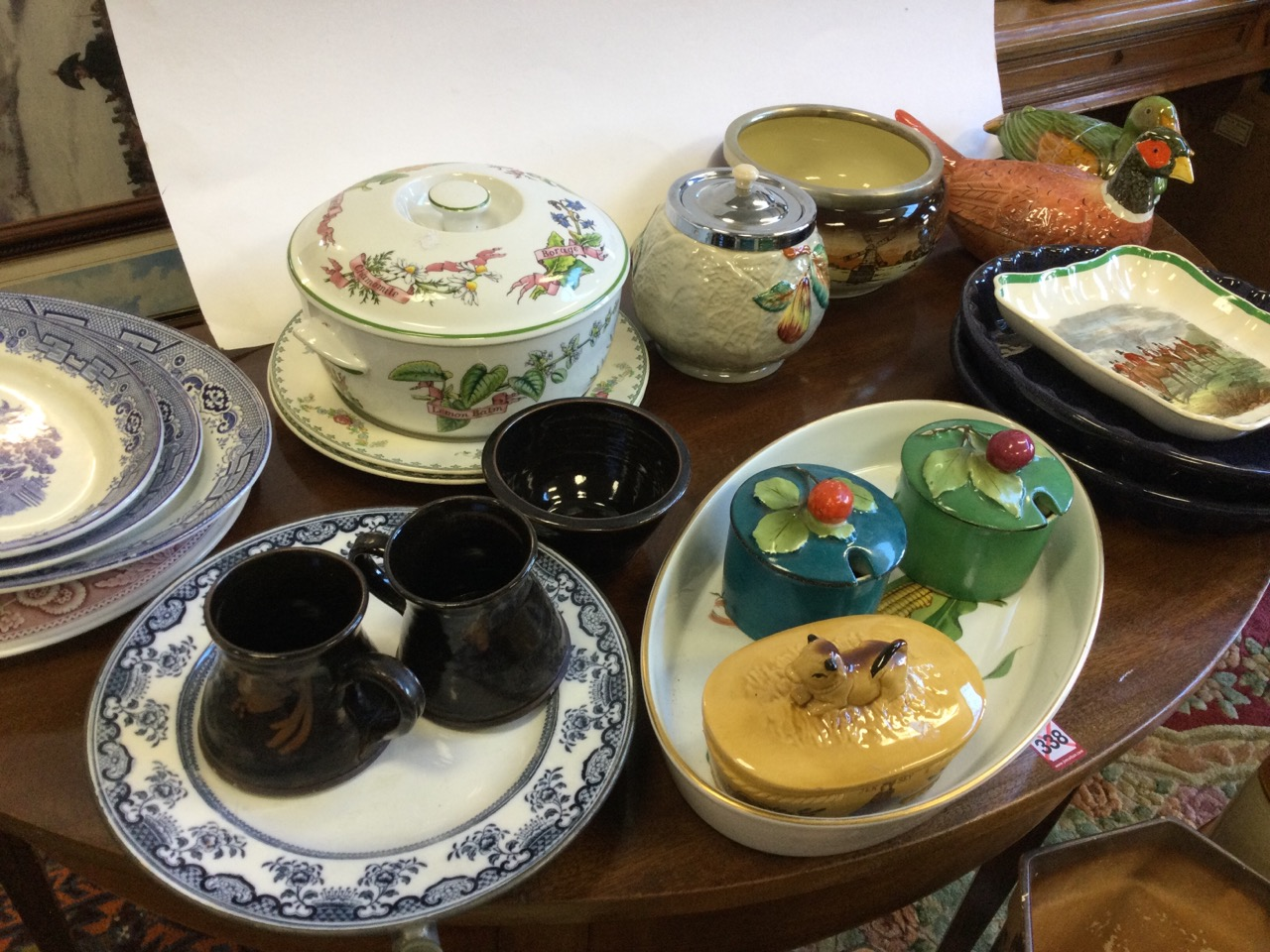Miscellaneous ceramics including a graduated trio of willow pattern ashets, a Spode platter, - Image 2 of 3