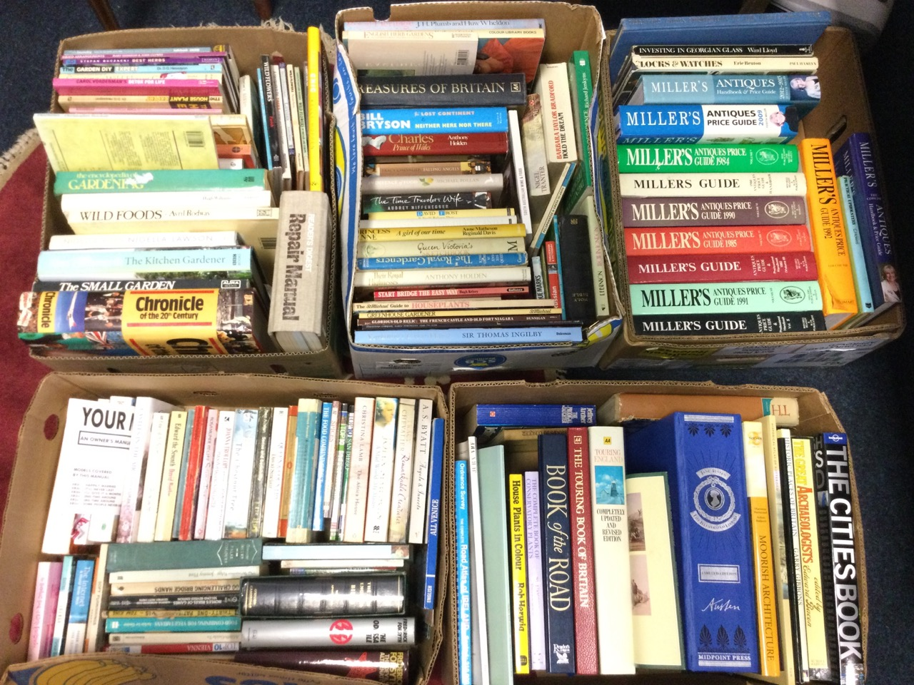 Five boxes of books - gardening & cooking, history & royalty, antiques & Millers guides, travel &