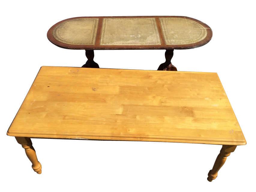 A rectangular hardwood coffee table, the moulded top on turned legs - 44in; and another with