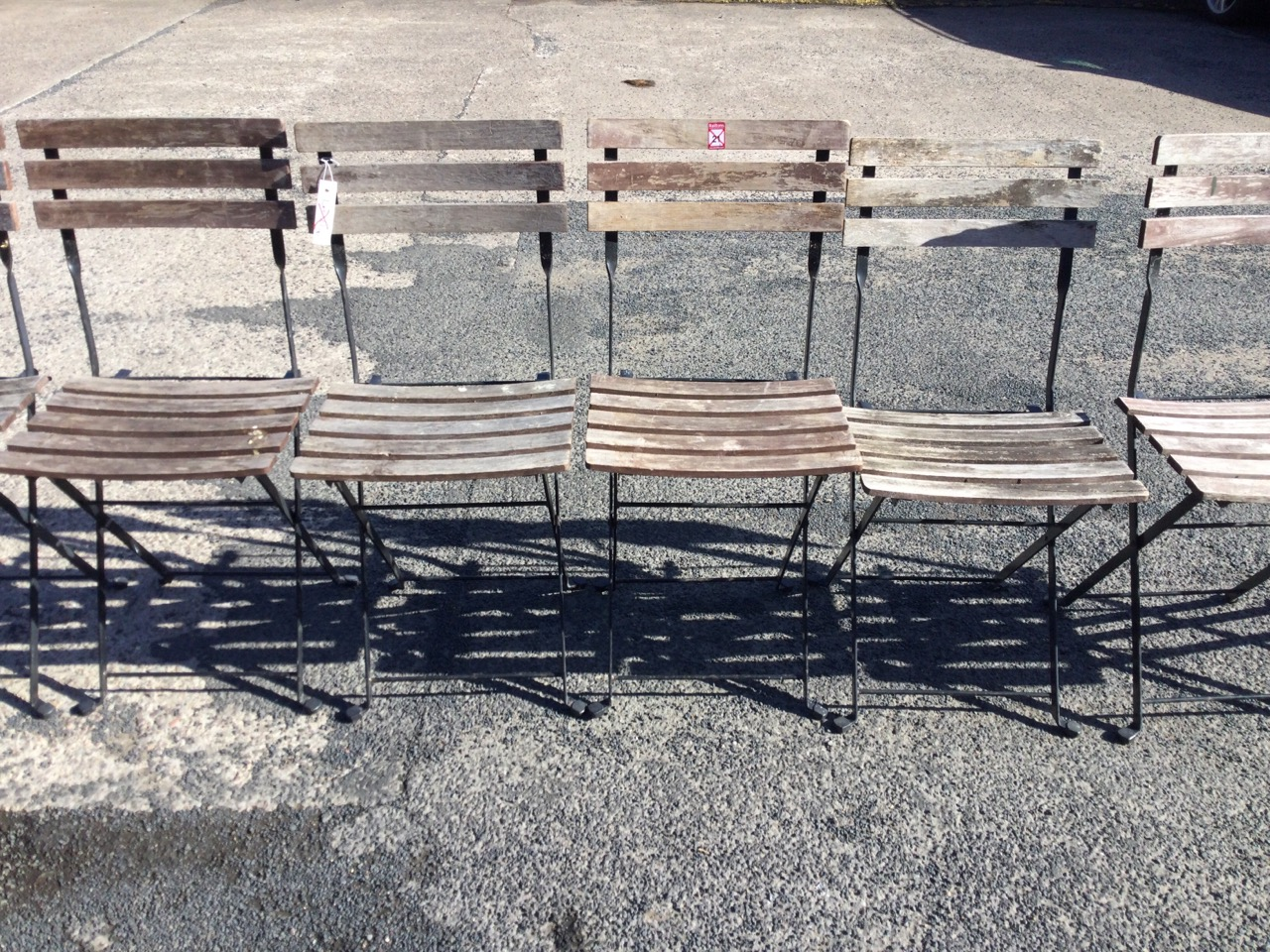 A set of eight folding garden chairs with slatted backs & seats on rectangular frames. (8) - Image 2 of 3