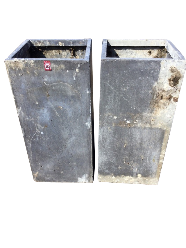 A pair of lead type resin garden planters of square column form. (28in) (2)