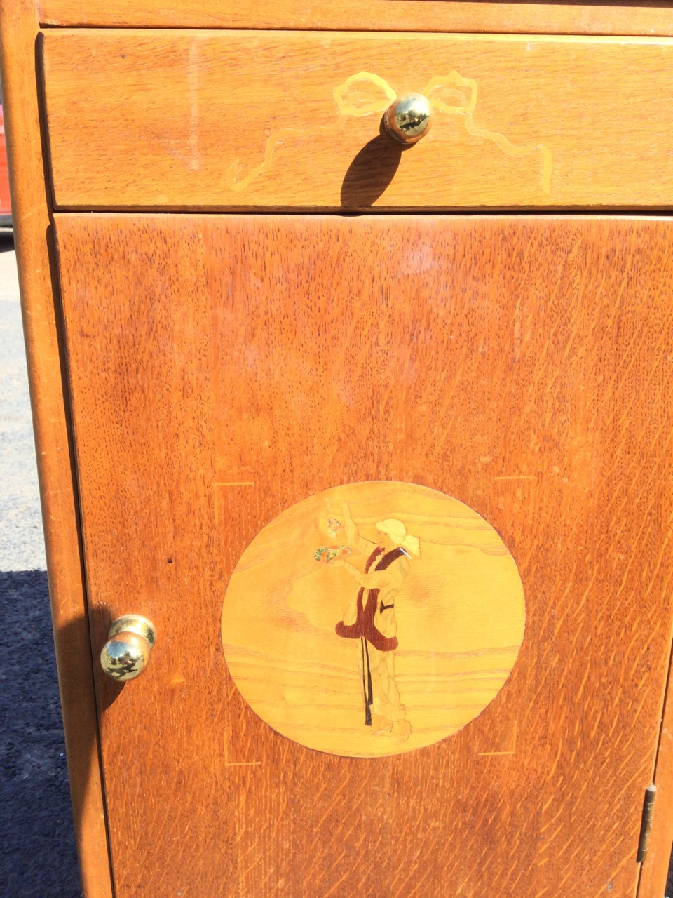 A pair of 1960s Ridgeway Cottage Industry oak bedside cabinets with marquetry by Colin Sawford, with - Image 2 of 3