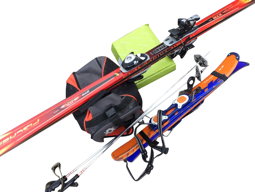 Miscellaneous skiing gear - a pair of red Fischer 190 carver skis with Salomon bindings, a pair of