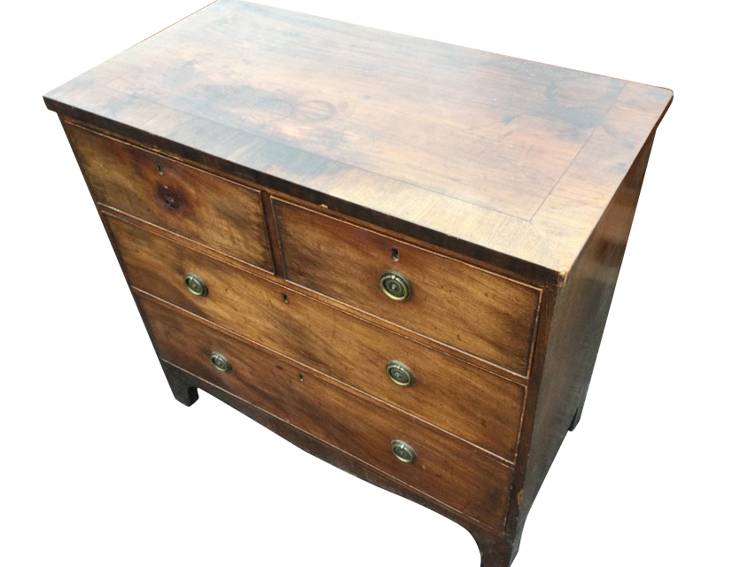 A nineteenth century mahogany chest of drawers, the crossbanded top above two short and two long