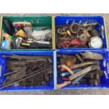 Miscellaneous tools including axes, spanners, pulleys, a jack, pumps, a pressure gauge, nuts &