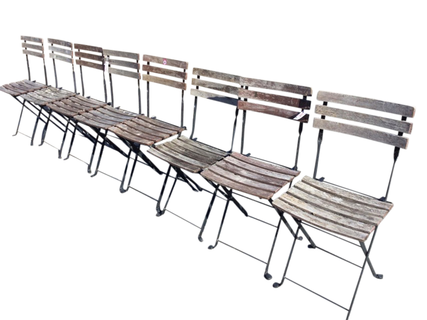 A set of eight folding garden chairs with slatted backs & seats on rectangular frames. (8)
