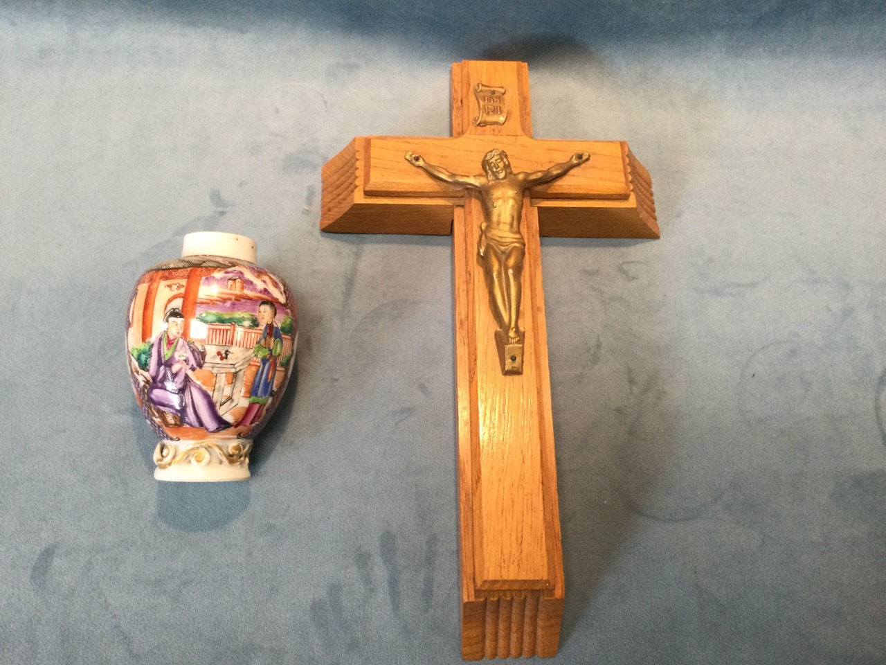 An oak absolution crucifix with sliding case revealing holy water bottle, and a pair of candles to - Image 2 of 3