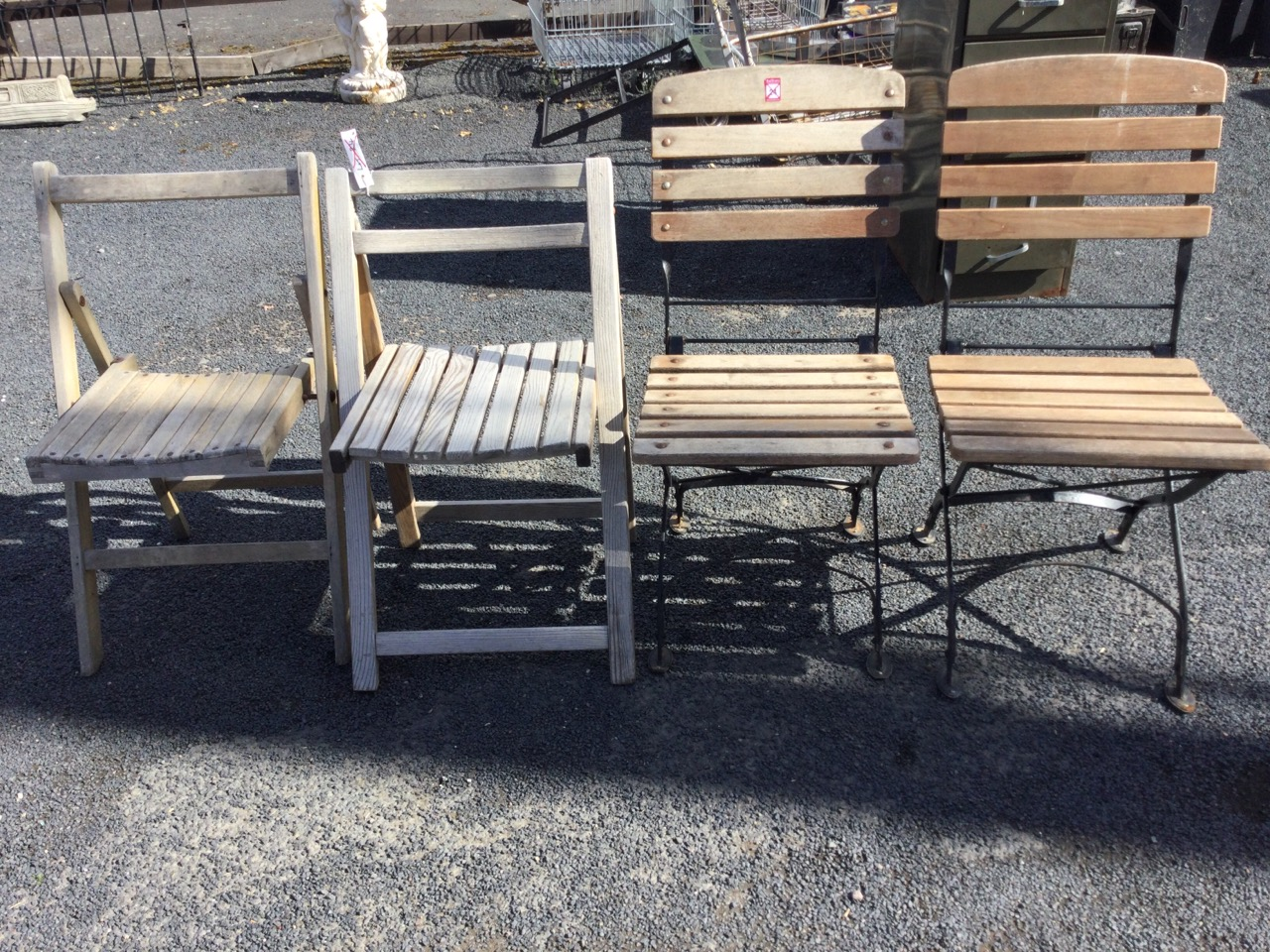 A pair of metal framed folding garden chairs with slatted backs & seats; and two other wood - Image 2 of 3