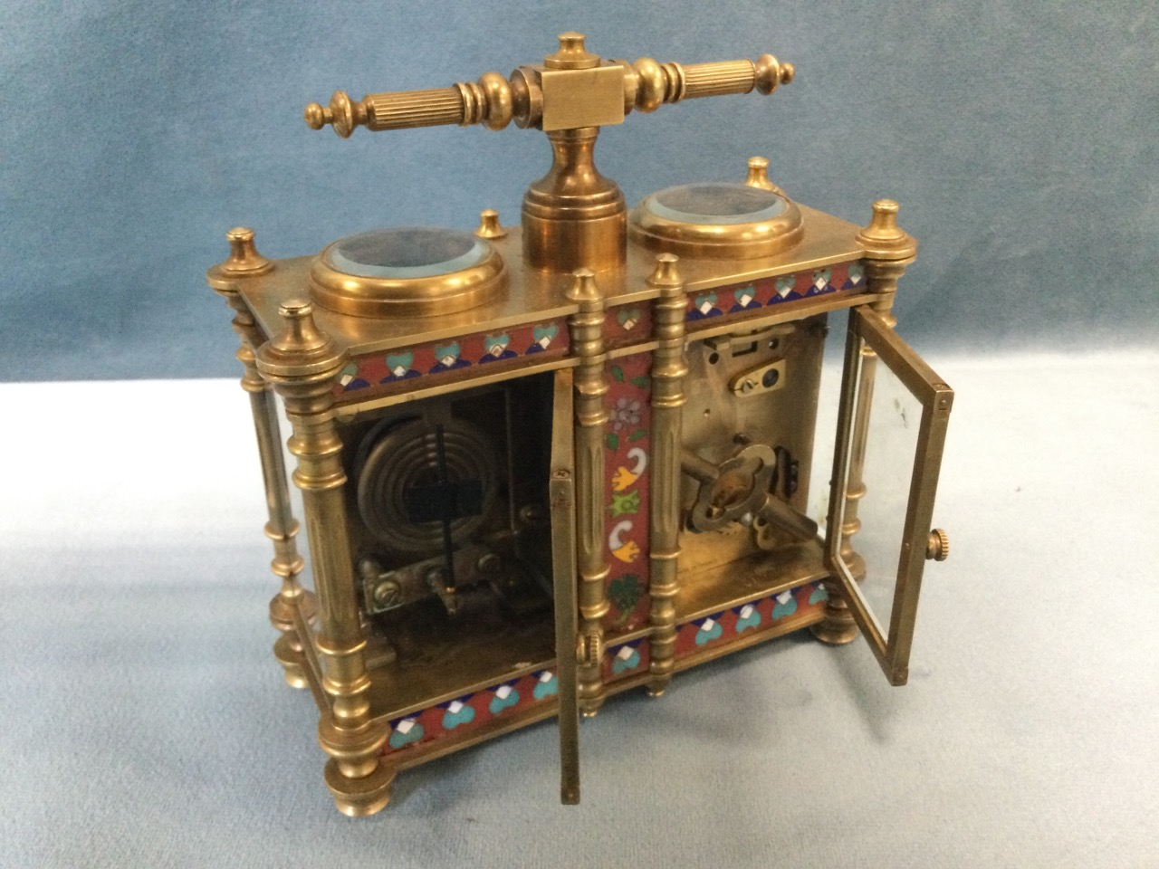 A French Edwardian enamelled brass desk-top clock barometer, the twin instruments with enamelled - Image 2 of 3