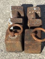 Two nineteenth century cast iron hundredweight weights with Imperial Standard marks dated 1828;