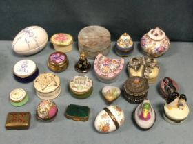 Twenty two miscellaneous trinket pots, some with hinged covers - Limoges, enamelled, egg shaped,