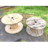 A 3ft pine cable drum suitable for a garden table – 37.25in x 23in; and another slightly smaller –