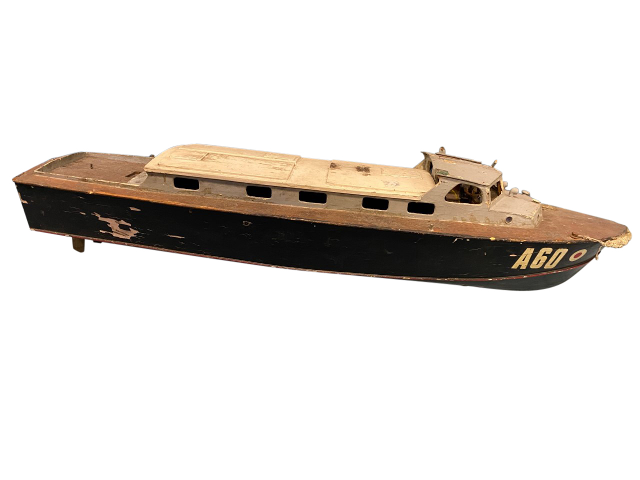A C20th handbuilt naval type cruiser A60 with hardwood deck and painted cabin, the vessel built