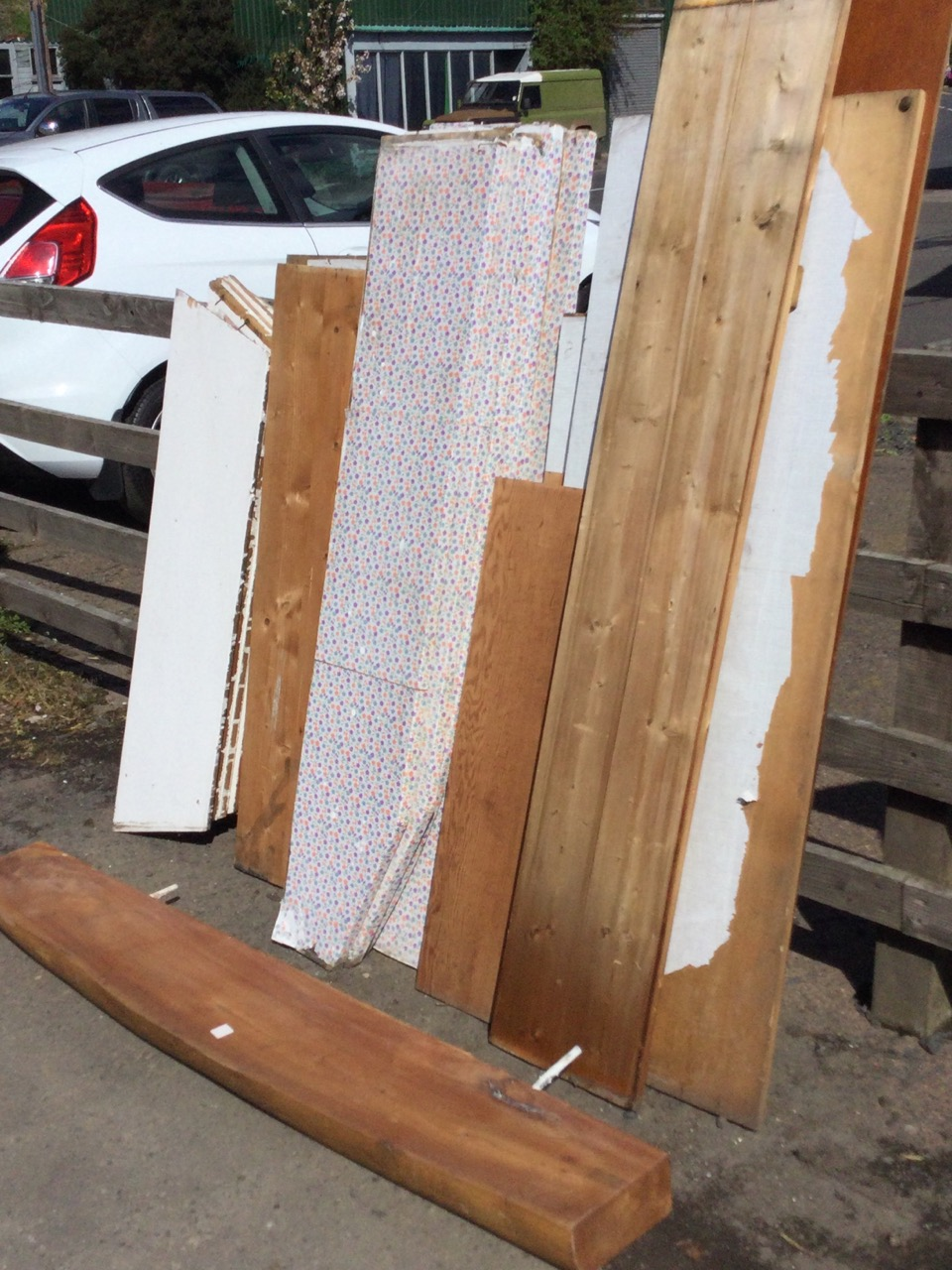 A quantity of wide old pine shelving boards from a pantry, the shelves of various sizes, painted, - Image 2 of 3