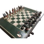 A limited edition Tower of London chess set & table, the pieces based on historical figures -