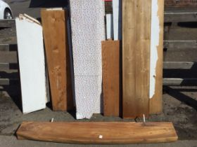 A quantity of wide old pine shelving boards from a pantry, the shelves of various sizes, painted,